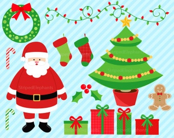 Christmas Clipart - Santa Clip Art - Instant Download - Commercial Use