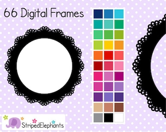 Lace Circle Digital Frames - Clip Art Frames - Instant Download - Commercial Use