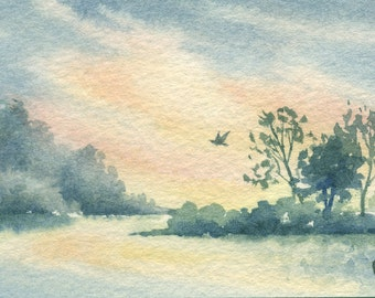 ACEO Original watercolor painting - Everglade's sunset