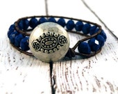 Deep Persian Blue Czech Beads on Dark Brown Leather Wrap Bracelet with Hammered Silver Boho Button/ Boho Modern Chic/ Ready to Ship