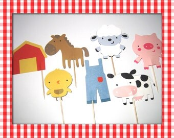 12 Farm Cupcake Toppers - Set of 12 - Cow, Sheep, Little Chick, Horse, Piglet, Denim Overall