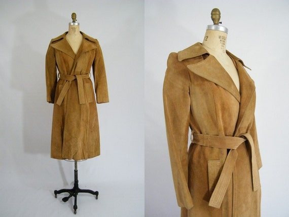 Vintage 1970s Leather Trench Coat / American Hustle / Tan Suede / Size 8