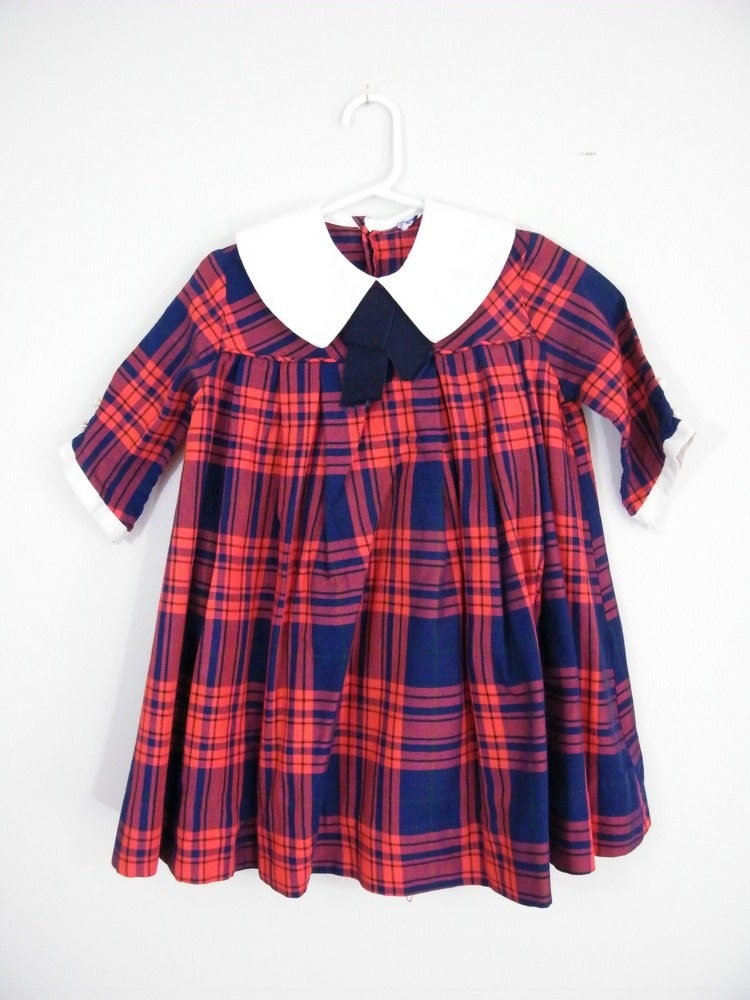 Vintage 1960s Girls Dress Red And Blue Plaid Size 6