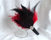 Feather headband black and red feather fascinator wedding hair accessorie