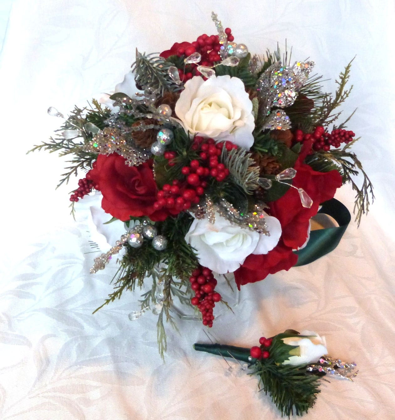 Red And White Winter Wedding Bouquet And Boutonniere Holiday