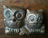 Vintage English Brass Small Owls Ornament Figurine Gift circa 1950's / English Shop