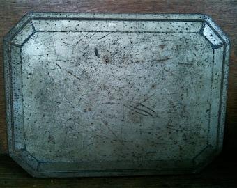 Vintage English Plain Rustic Tin Box circa 1950's / English Shop