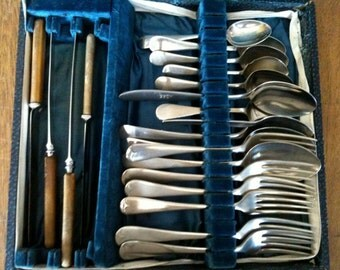 Vintage English Mixed Large Cutlery Silverware Flatware Collection Job Lot Boxed up circa 1920-50's / English Shop