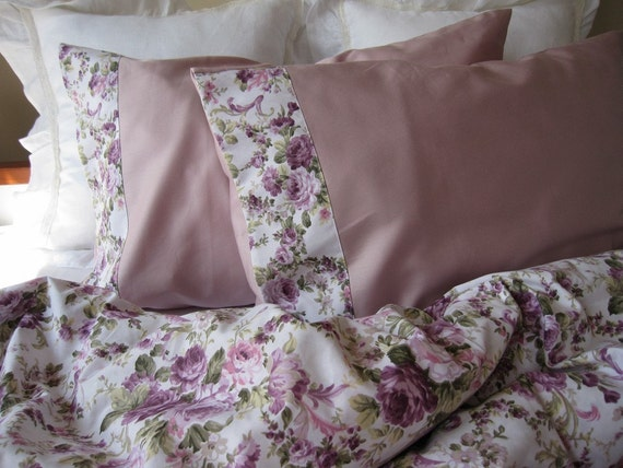 Floral Duvet Cover Pink Green Purple Lavender Lilac By