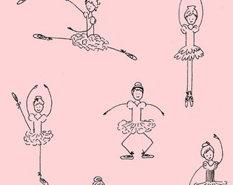 SALE 1 Yard of Twirl Pink Ballerinas by Jil Finley for Henry Glass