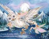 "ACEO -Owl's Moonlight Flight, 3.5x2.5"", Limited Edition Print, whimsical fairy fantasy animal art"