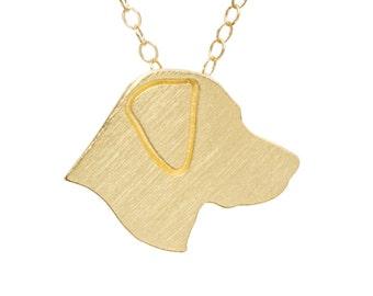 Labrador necklace, Labrador charm, Labrador jewelry - Solid 14k Yellow Gold dog necklace, dog charm pet memorial gift
