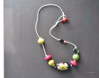 necklace - bright mixed beaded necklace - white wax cord - artisan necklace - black, hot pink, yellow and green knotted necklace for her