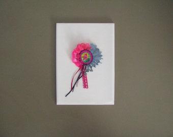 neon rosette brooch - textile collage brooch - eyecatcher broach - corsage brooch - pink and grey brooch - pink bird fun brooch