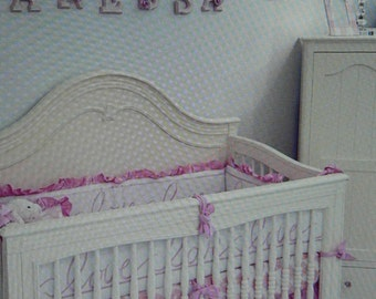 Crib bedding for Boys or Girls in Embroidered Love Linen w/Silk Dupioni Crib Skirt in Blue or Pink