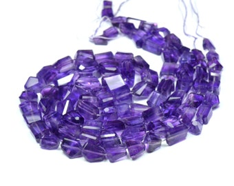 "SALE 8"" 8mm - 14mm  rough cut Amethyst beads AAA Am007"