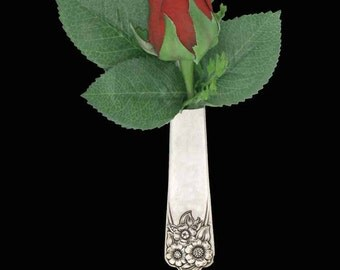 Lapel Vase, Vintage April 1950 Tussie Mussie/ Boutonniere Lapel Vase Pin Silverware jewelry, Mother's Day gift