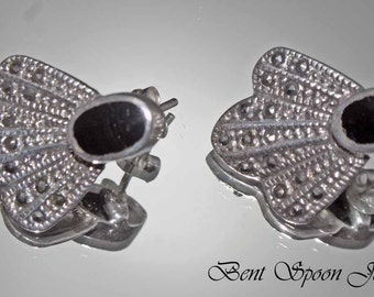 Vintage Sterling Silver Art Deco Marcasite and Onyx Earrings, Bent Spoon Jewelry