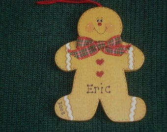 Personalized Wood Christmas Ornament - Gingerbread Man