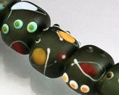 Grey lampwork bead set Grey etched bead set Grey beads Gray beads Gray lampwork bead set  Miro MADE to ORDER Anne Londez