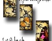 Butterflies Art Deco Vintage Paper 1 x 2 Inch Instant Download Digital Image JPEG (13-19)