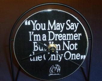 John Lennon Dreamer Recycled CD Clock Art
