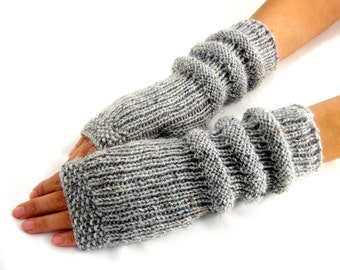 GRAY LONG Fingerless Gloves, Merino Wool Mittens, Arm Warmers , Hand Knitted, Eco Friendly