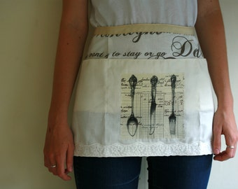 Romantic kitchen half apron with decoupage detail, waitress style apron, vendor apron