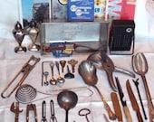 junk drawer destash lot,Maps,utensils,antique ladle and vintage radio