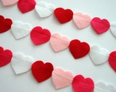 Love Garland... Valentine Garland... 7 feet of love felt hearts... shocking pink, pink, red and white... a gift of love... love decor