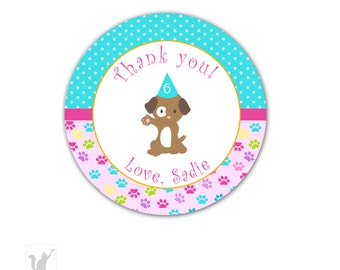 Personalized Puppy Party Thank You Tags - Pink Turquoise Paws Party Items Printable Birthday Party Tags Party Favors Birthday Favors