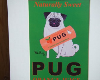 Pug Dog Print. 8 X 10 Inches with Mat. Ready to Frame.