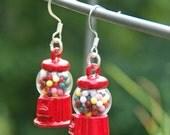 Miniture Food Earrings, Fun Earrings, Gum Ball Machine, Toy Earrings, Fun Jewelry, Teen Earrings, Womens Jewelry, Candy Earrings,