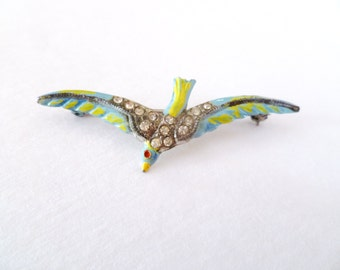 Vintage Enamel Soaring Bird Brooch 1930s Pot Metal Pin