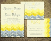 Beach Wedding Invitation Set WAVES Suite Pdf Template Digital Nautical Seaside Rustic Destination Lace Party Program Ocean Tropical Modern