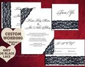 DIY Invitation Suite Design Pdf PRINTABLE Grey Black LACE Wedding Engagement Party Bridal Shower Template Program Rustic Vintage Digital New