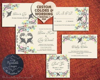 Mexican Wedding Invitation Set Floral Love Design Suite Anniversary Engagement Party Template Floral Country Bird Lovebird Cheap Print Order