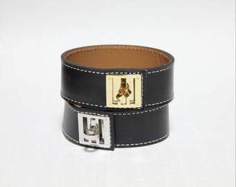 New Equestrian Buckle Ornament Leather Bracelet(BLACK)