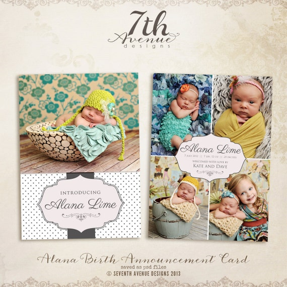 items similar to instant download alana 5x7 birth announcement photo templates on etsy. Black Bedroom Furniture Sets. Home Design Ideas