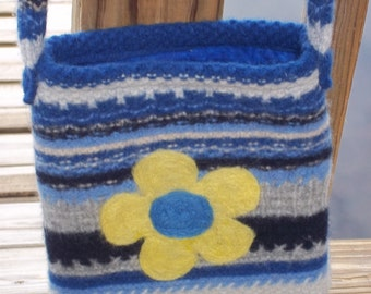 Felted Purse Blue Striped Yellow Flowers