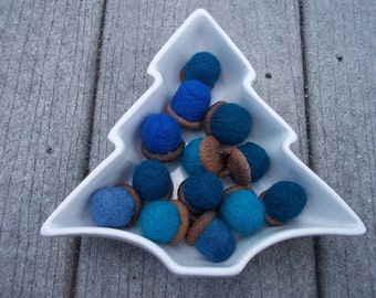 Blue Felted Acorns Real Acorn tops  set of 5