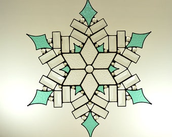 Beveled and Stained Glass Snowflake - Made to Order