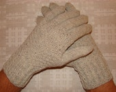 Hand knitted warm men gloves (gray color)