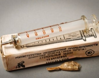 Vintage glass syringe medicine tool, 5 ml