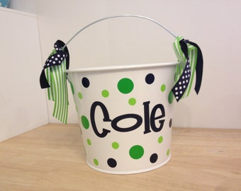Personalized Easter basket, 5 quart metal bucket, name or monogram, other colors available, Easter, Halloween, Baby or birthday gift