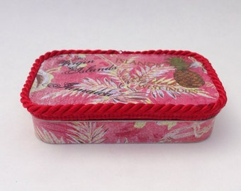 Caribbean Tropical Theme Altered Altoid Tin, Keepsakes, Jewelry, Business Cards, Trinkets, Pills, Gift Card, Photos