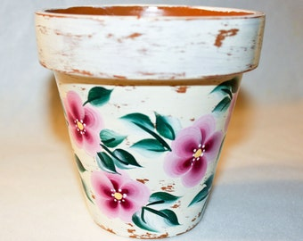 Shabby Chic Pink Hand Painted  Floral Flower Pot