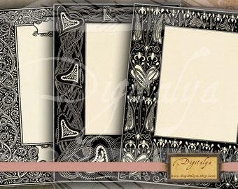 FLORAL ART NOUVEAU Framed cards (1) - Five Digital Collage Sheets - Buy 3 Get 1 Extra Free - Instant download