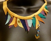FRESH  Eco Friendly Statement Necklace Orange Gold Purple Green Suede and Glass Beads