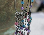 Colorful Chandelier Style Dangle Earrings Oxidized Silver with Dangly Gemstones